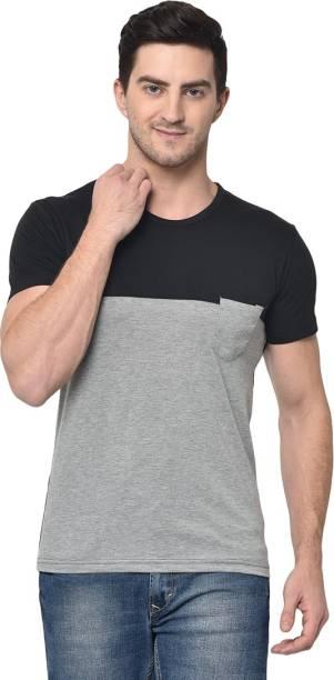 3SIX5 Color Block Men Round Neck Grey T-Shirt