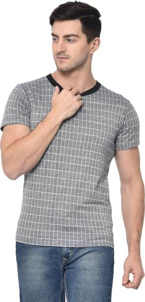 3SIX5 Checkered Men Round Neck Grey T-Shirt