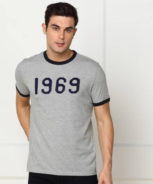 GAP Applique Men Round Neck Grey T-Shirt