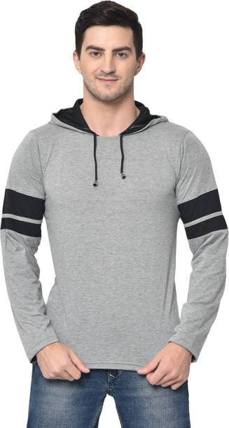 3SIX5 Solid Men Hooded Neck Silver T-Shirt