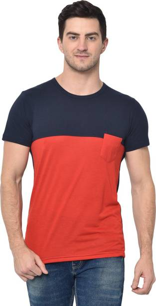 3SIX5 Color Block Men Round Neck Red T-Shirt
