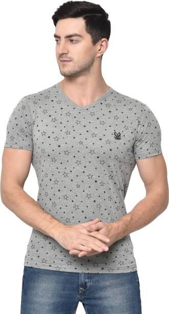 3SIX5 Printed Men V Neck Grey T-Shirt