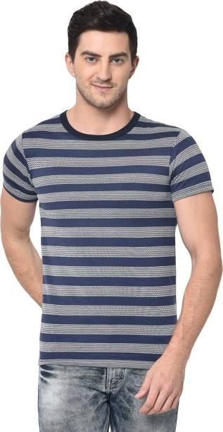 3SIX5 Striped Men Round Neck Dark Blue T-Shirt