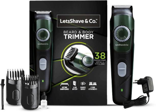 LetsShave & Co. Beard, Body & Head Trimmer with Lithium-ion Battery, Cordless, Stainless Steel Blade, 38 length settings, Fast charging  Runtime: 90 min Trimmer for Men & Women
