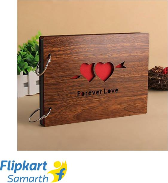 E DEAL N DISCOUNT Presents Wooden Forever Love Scrapbook Photo Album for Memorable Gift on Boyfriend, Girlfriend, Husband, Wife, Spouse, Birthdays, Valentines Day, Anniversary, Monthsary for Couples Album