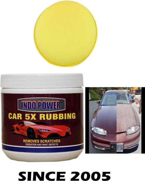 INDOPOWER TOP SERRIES816-CAR WAX 5X RUBBING 500gm.+One Foam Applicator Pad. Car Washing Liquid