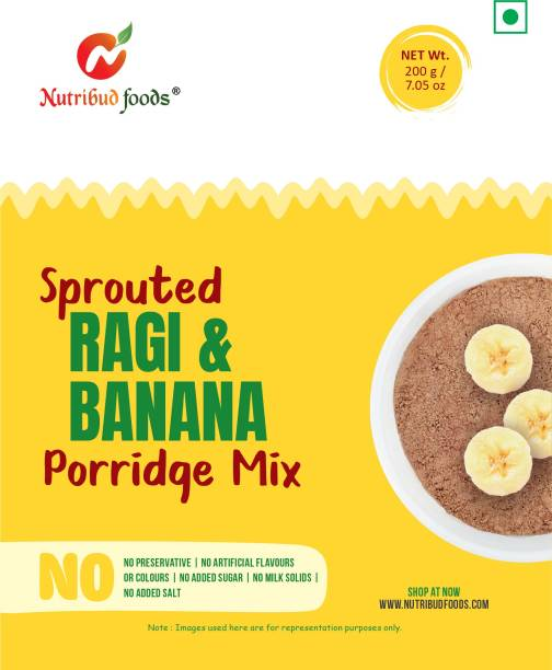Nutribud Foods Sprouted Ragi and Banana Porridge Mix - Pack of 2 - No Preservatives/Additives/Added Sugar/Salt/Milk Solids, Naachni Satva Baby Food (All Ages Above 6 Months+, 200 gm) Cereal
