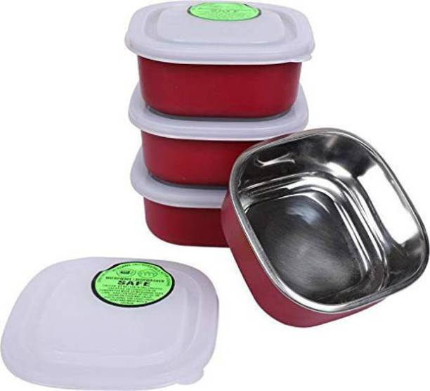 DIAMOND Premium Microwave safe Bowls with Stainless Steel interiors  - 400 ml Steel, Plastic Utility Container