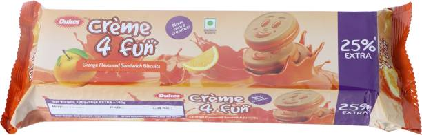 Dukes Creme 4 Fun Orange Flavoured Sandwich Biscuits