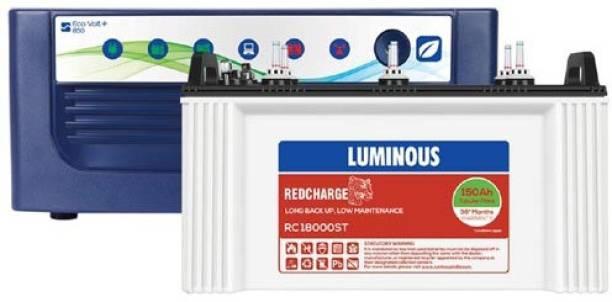 LUMINOUS Eco Volt 850 VA+RC18000ST Tubular Inverter Battery