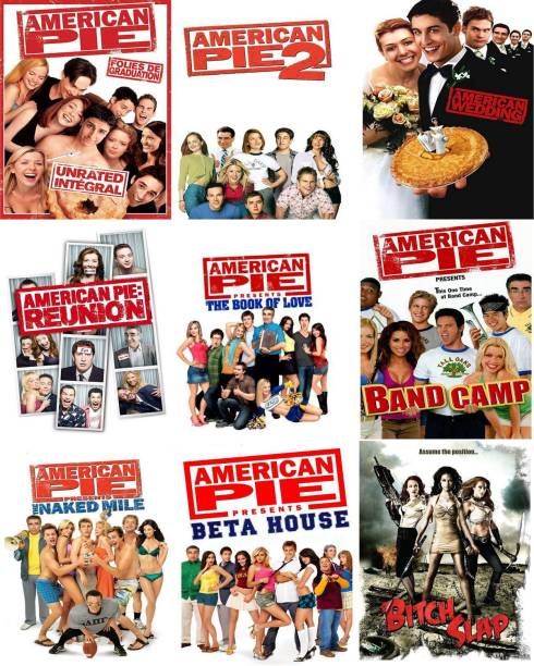 American Pie Series & Bitch Slap (9 Movies) it's burn data DVD play only in computer or laptop it's not original without poster HD Print