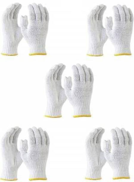 Safepro A3MTECH Cotton Knitted Hand Gloves Plain (White) Synthetic  Safety Gloves