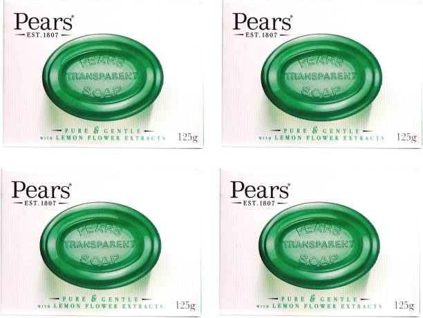 Pears Imported (Made in UK) Pure & Gentle With Lemon Flower Extracts 125g (500 g, Pack of 4)