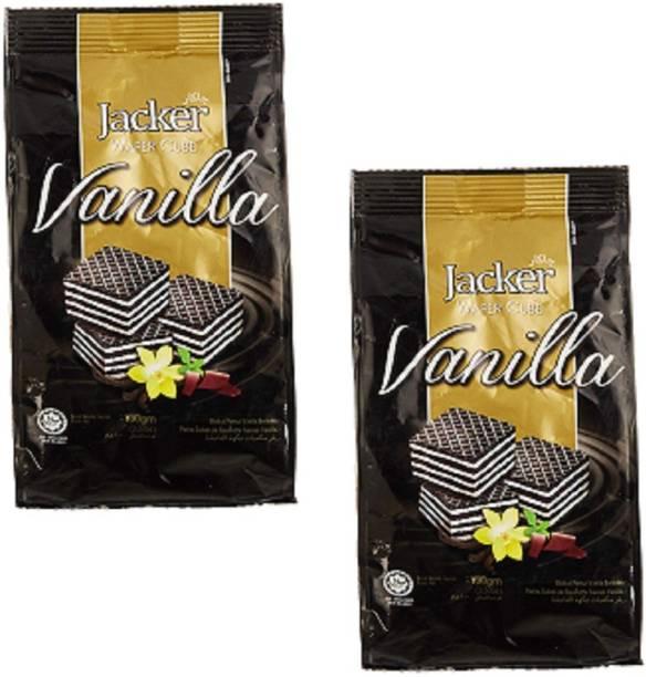 Jacker Wafer Cube Vanilla, 100 g ( Pack of 2 ) Waffles