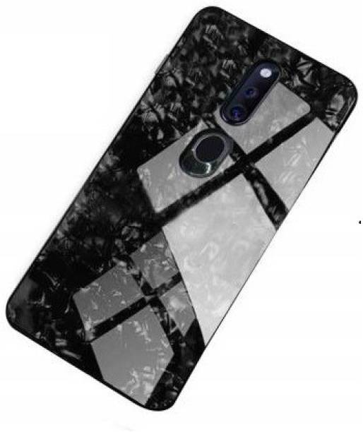 UNQMobi Back Cover for Oppo F11 Marble Pattern Toughened Glass Back Case