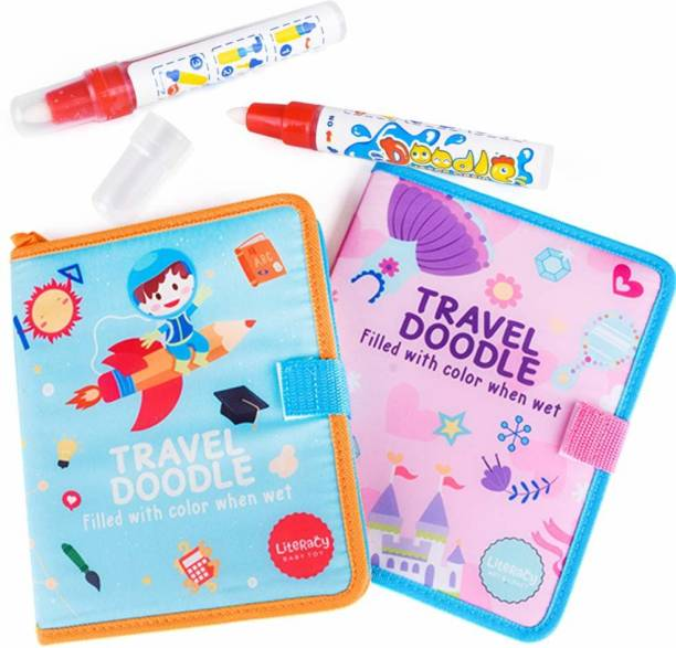StarAndDaisy Aqua Magic Doodle Book Portable Water Drawing Doodling Mat Coloring Pad Educational Painting Board Toys Gift for Kids Toddler Boy Girl Age 2 3 4 5 6, Blue-Orange