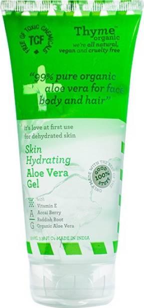 Thyme Organic 99% Organic Aloe Vera Gel with Vitamin E, Acai Berry & Radish Root for Face ,Body & Hair- 100% Toxic Chemical Free/ Natural/Organic/Vegan/Cruelty Free- 150 Ml