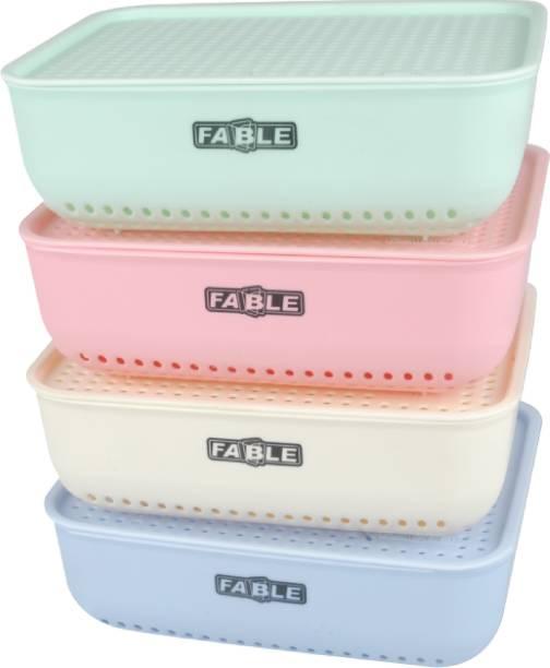 Nabhya Combo Of 4 Medium Size Multipurpose Basket Storage Basket with Lid Plastic Box Organiser for Home Kitchen Storage Storage Basket