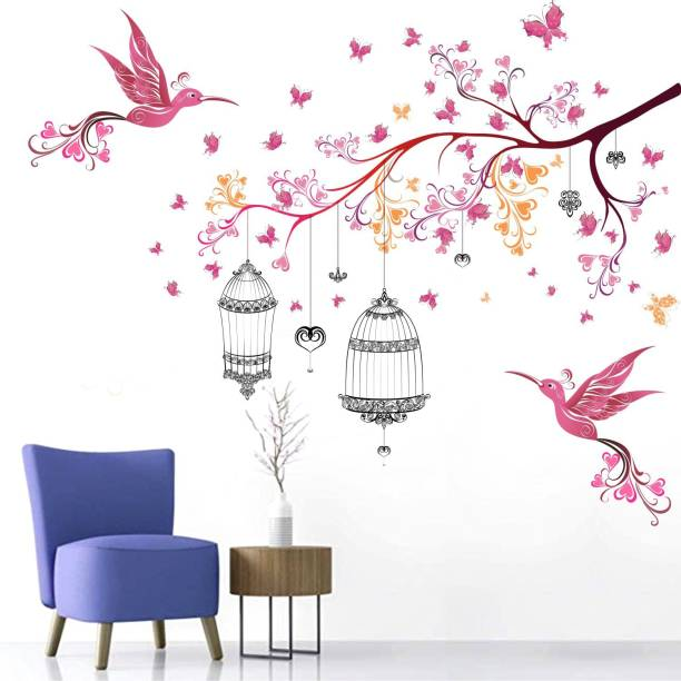 WALL STICKS Bird's Cage - Tree - Branch - Floral - Butterfly - Colourful - Decorative - Wall Sticker - WS016