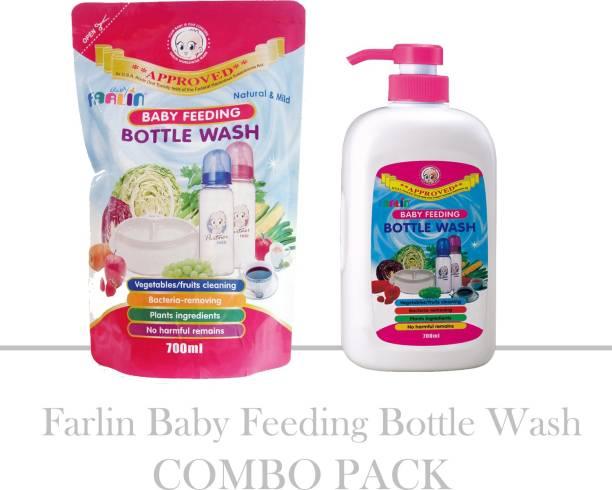 FARLIN Baby Feeding Bottle Wash Combo Pack (Bottle 700ml + Refill Pack 700ml)