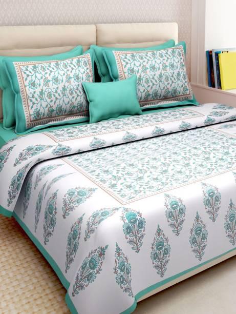 Rajasthani Jaipuri Traditional Print 200 TC Cotton Double King, Double Jaipuri Prints Bedsheet