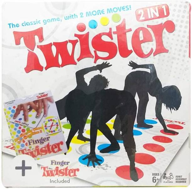 Pie Toys 2 in 1 Twister Board Game with 2 More Moves Spinner Wheel, Cool Mat and Finger Twister Indoor Sports Games Board Game