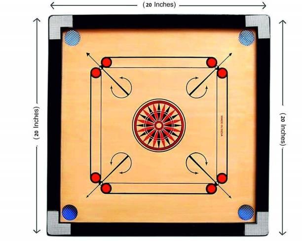pinaki Gloss Finish Carrom Board with Coins, Striker & Powder Size 50.8 cm Carrom Board