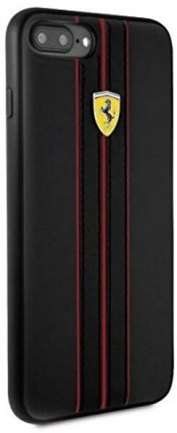 Ferrari Back Cover for Heritage Collection Leather Hard Case For Apple Iphone 7/8 Plus Ferrari Design And Logo (Black)