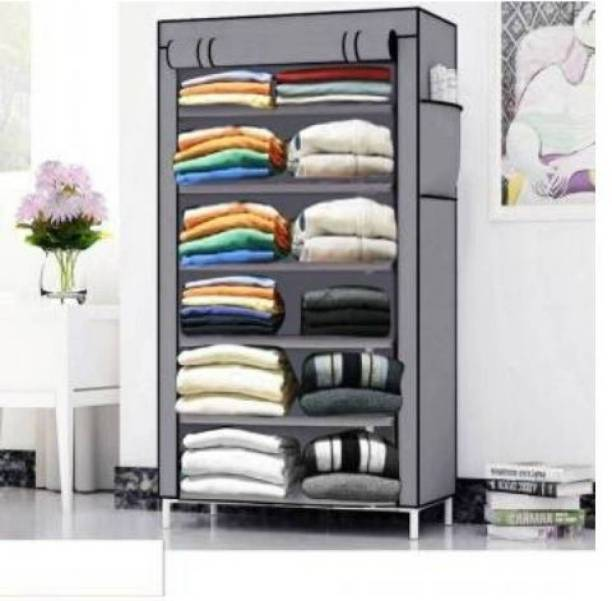 Sasimo 1-Door 6-Shelf Fabric Collapsible Carbon Steel Collapsible Wardrobe