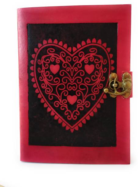 Coronal Leather Journals Beautiful Heart Design in Dual Color Red and Black Brass Lock Unique Closer Leather Notebook A5 Notebook Unruling 200 Pages