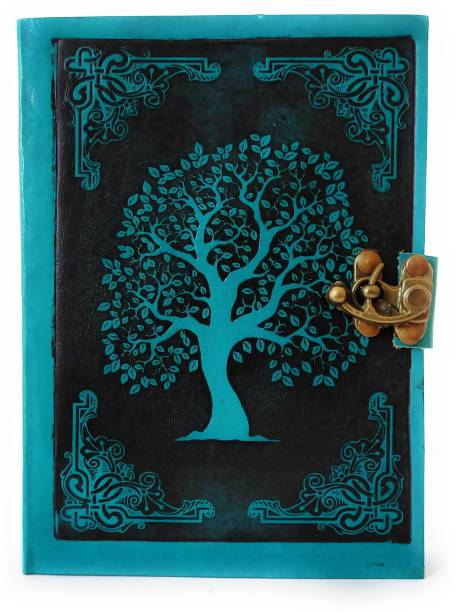 Coronal Leather Journals Beautiful Tree Design in Turquoise and Black Brass Lock for Antique Closer Big Size Leather Notebook A5 Notebook Unruling 200 Pages