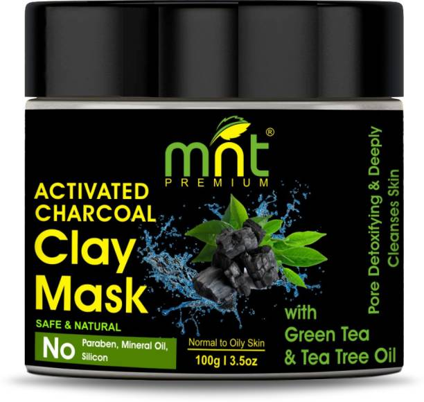 MNT Activated Charcoal Clay Mask with Green Tea & Tea Tree Oil (100g) for All Skin Types |Pore Detoxifying & Deeply Cleanses Skin