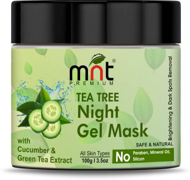 MNT Tea Tree Night Gel Mask with Cucumber & Green Tea Extract (100g) for All Skin Types| Skin Brightening| Dark Spot Removal