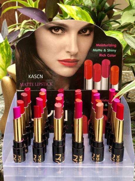 KASCN Long Lasting Matte Lipsticks with Multicolour Set of 24 (Multicolour, 5.8 g)