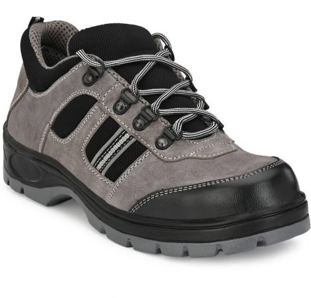 Ozarro Grey Suede Leather Steel Toe Safety Shoes (S4404) Steel Toe Suede Safety Shoe