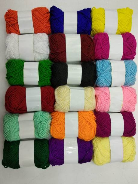 Sancheti Hand Knitting Art Craft Soft Fingering Crochet Hook Yarn, Needle Knitting Thread For Wool Ball Hand Knitting Art Craft Soft Fingering Crochet Hook Yarn, Needle Knitting Thread Dyed Multi Color Pack Of 18