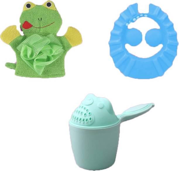 SYGA 1 Green Baby Rinser,1 Blue Shampoo Shower Bath Cap,1 Green Frog Face Cartoon Bathing Gloves