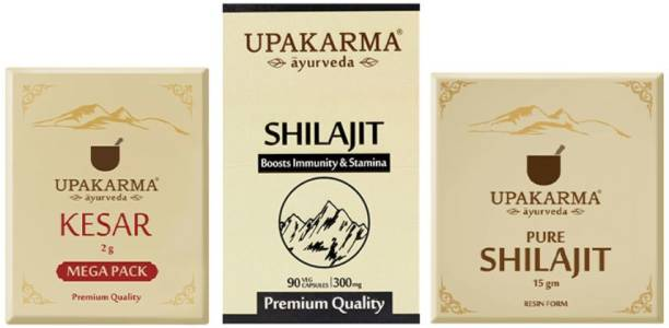 UPAKARMA Combo Pack of 2g Kashmiri Kesar Mega Pack, 90 Shilajit Capsules & 15g Shilajit Resin Pack