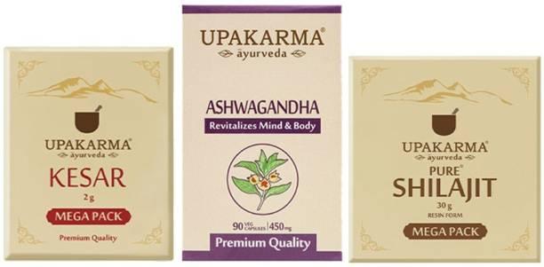 UPAKARMA Combo Pack of 2g Kashmiri Kesar Mega Pack, 90 Ashwagandha Capsules & 30g Shilajit Resin Mega Pack