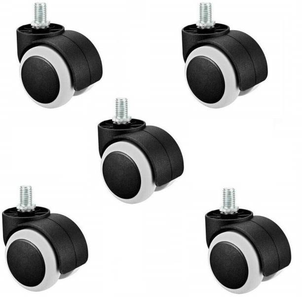 PANISTHA 5 Pieces Twin Castor Wheels Threaded for revolving Chairs and Other revolving Products Bar Stool Wheels