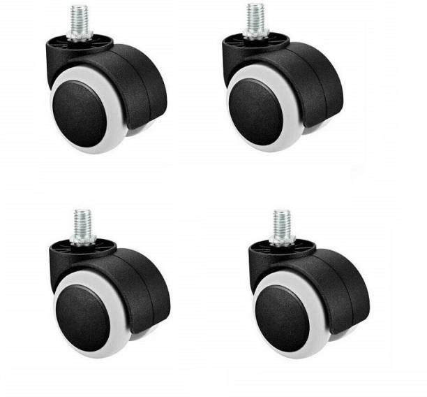 PANISTHA 4 Pieces Twin Castor Wheels Threaded for revolving Chairs and Other revolving Products Bar Stool Wheels