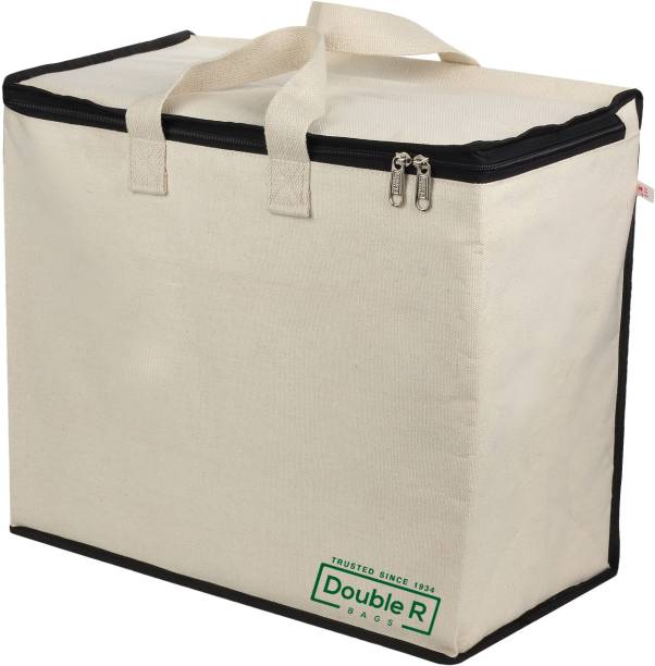 DOUBLE R BAGS Canvas Reinforced Cotton Handles and Thick Base with Multipurpose Storage Organizer and Covers Zip Bag Pack of 2 Grocery Bags (Pack of 2) Pack of 2 Grocery Bags