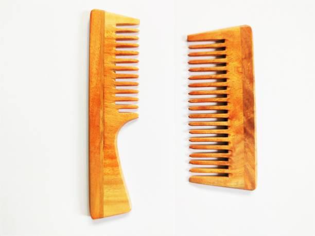 Prakrtik Set of 2 Pure Neem Wooden Combs