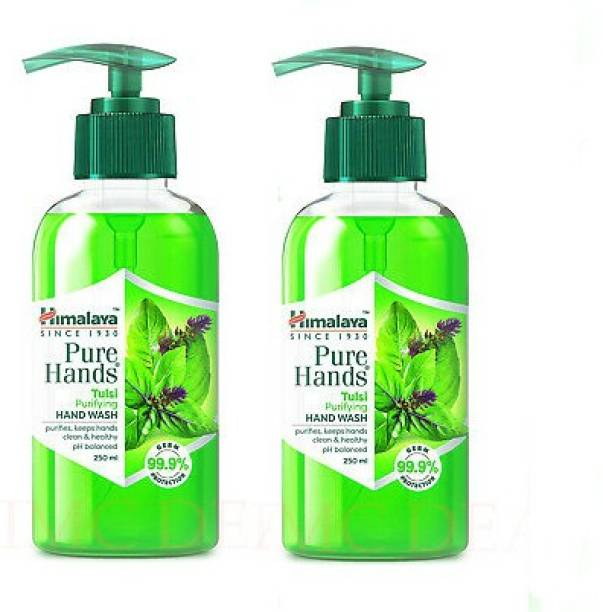 HIMALAYA Pure Hands Purifying Tulsi Hand Wash Pump Dispenser (2 x 250 ml) Hand Wash Pump Dispenser