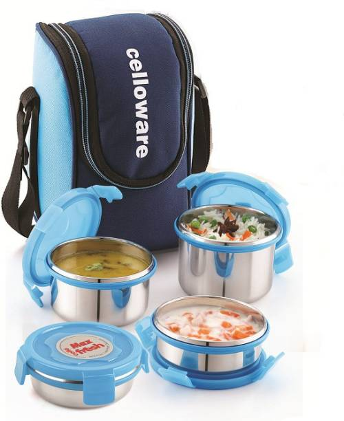 cello Max Fresh Prime Steel Lunch 4 4 Containers Lunch Box