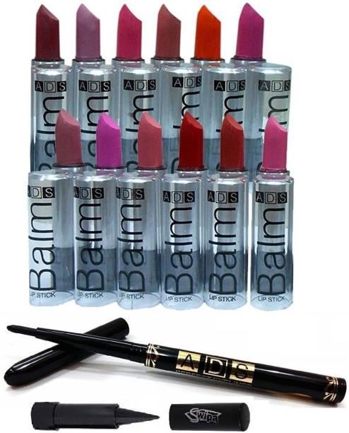 SWIPA Kajal+ Eyeiner Pencil+12Pcs Matte Lipstick