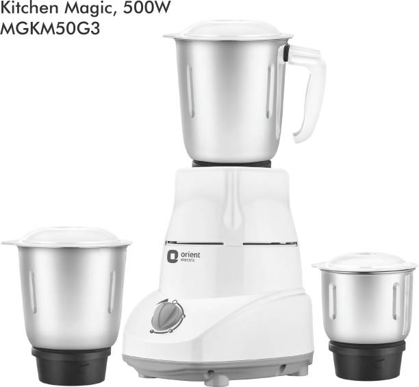 Orient Electric Kitchen Magic MGKM50G3 500 W Mixer Grinder (3 Jars, White and Grey)
