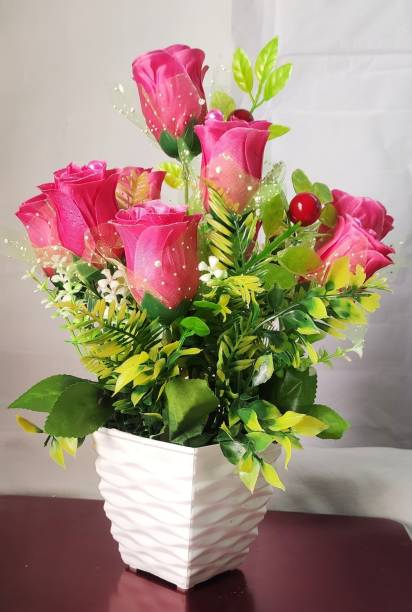 BK Mart Imported Beautiful Pink Rose Flower bunch For home Shop Office Decor - 10 Flower Sticks Pink, Green Rose Artificial Flower  with Pot