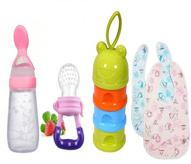 Manan Shopee Baby Food Feeder And Fruit Nibbler Baby Container & Bib Combo Set