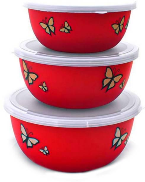 SAAD Microwave Safe Stainless Steel Plastic Serving Bowl Set of 3 Stainless Steel, Plastic Serving Bowl